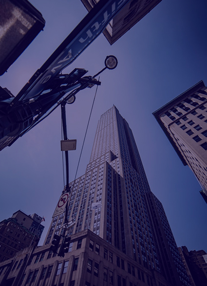 A reflected shot of tall buildings.