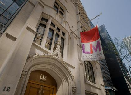 The front entrance to one of LIM College's buildings.