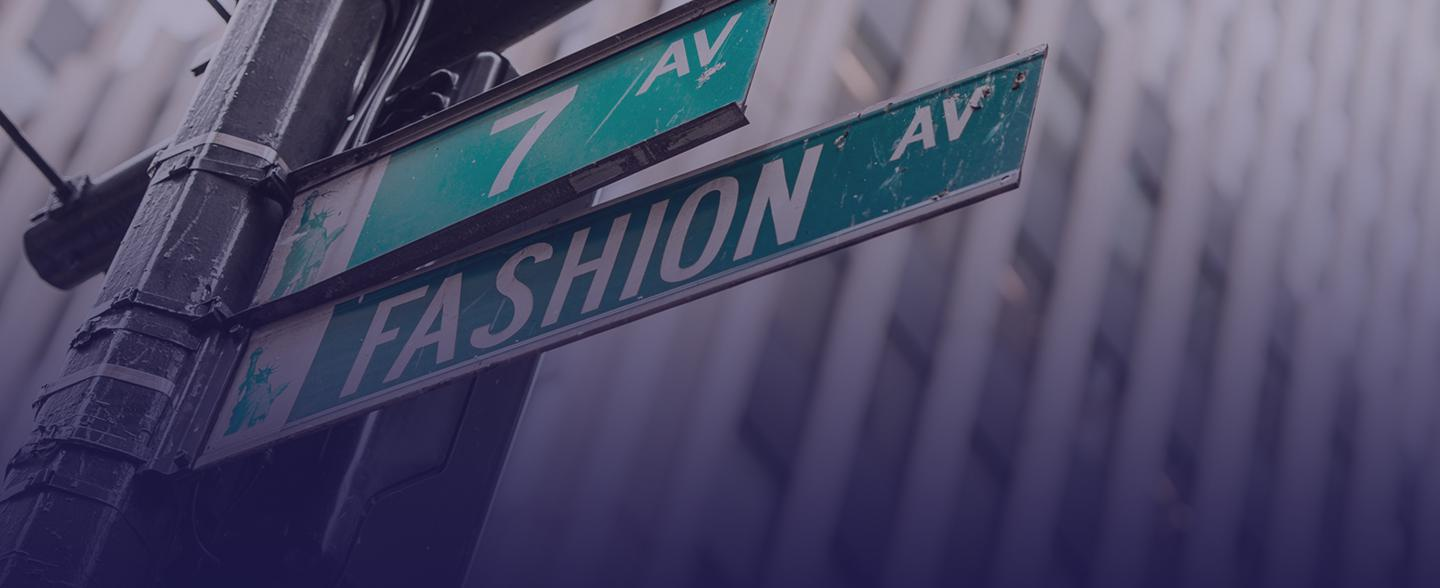 Fashion Ave sign on a light post.